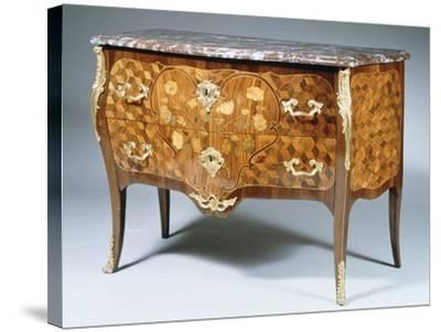 Louis XV Style Chest of Drawers with Kingwood, Madagascar Rosewood and Amaranth Inlays, France--Stretched Canvas Print