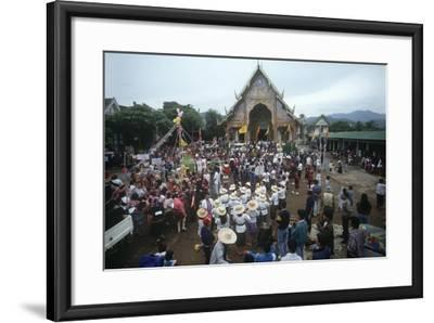 Thailand, Tha Thon, Crowd at Feast of Offerings, Outside Temple--Framed Giclee Print