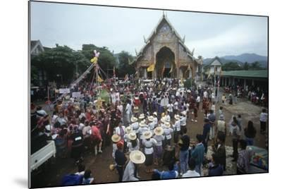 Thailand, Tha Thon, Crowd at Feast of Offerings, Outside Temple--Mounted Giclee Print