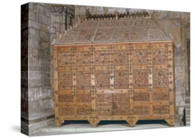 Mudejar Style Carved Wood Cabinet, Adorned with Coloured Iron Decorations, Spain--Stretched Canvas Print