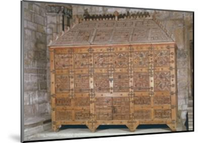 Mudejar Style Carved Wood Cabinet, Adorned with Coloured Iron Decorations, Spain--Mounted Giclee Print