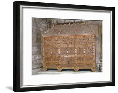 Mudejar Style Carved Wood Cabinet, Adorned with Coloured Iron Decorations, Spain--Framed Giclee Print