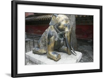 China, Beijing, Forbidden City, Gu Gong, Gilded Bronze Elephant Sculpture--Framed Giclee Print