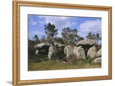 France, Brittany, Surroundings of Carnac, Prehistoric Megalithic Stone Alignments, Keriaval Dolmen--Framed Giclee Print