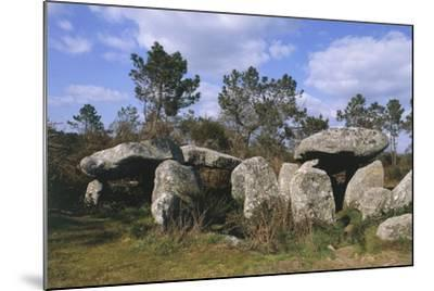France, Brittany, Surroundings of Carnac, Prehistoric Megalithic Stone Alignments, Keriaval Dolmen--Mounted Giclee Print