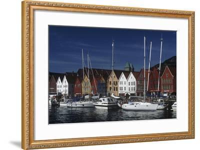 Norway, Bergen, Bryggen, Old Wharf, Tyskebryggen, German Wharf, Hanseatic Commercial Buildings--Framed Giclee Print