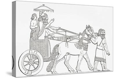 An Assyrian King in His Chariot of State, from the Imperial Bible Dictionary, Published 1889--Stretched Canvas Print