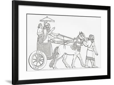 An Assyrian King in His Chariot of State, from the Imperial Bible Dictionary, Published 1889--Framed Giclee Print