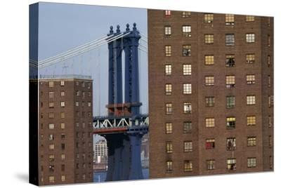 View of New York, Piers of Manhattan Bridge in Background, New York, USA--Stretched Canvas Print
