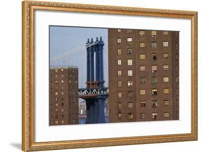View of New York, Piers of Manhattan Bridge in Background, New York, USA--Framed Giclee Print