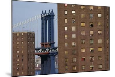 View of New York, Piers of Manhattan Bridge in Background, New York, USA--Mounted Giclee Print