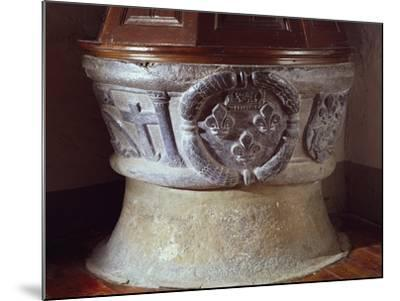 14th Century Baptismal Font, Sauze D'Oulx Parish Church, Italy--Mounted Giclee Print