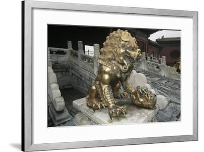 China, Beijing, Forbidden City, Gu Gong, Gilded Bronze Lion Sculpture at Gate of Celestial Purity--Framed Giclee Print
