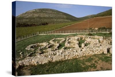 Italy, Sardinia Region, Sassari Province, Palmavera, Ruins of Nuragic Village--Stretched Canvas Print
