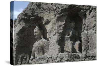 China, Shanxi Province, Buddha Statues at Yungang Grottoes--Stretched Canvas Print