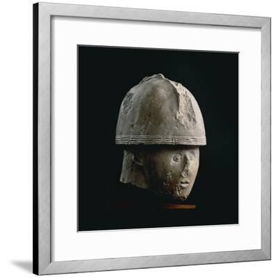 Colossal Stone Head of Warrior with Crested Helmet, from Numana, Province of Ancona--Framed Giclee Print