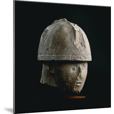 Colossal Stone Head of Warrior with Crested Helmet, from Numana, Province of Ancona--Mounted Giclee Print