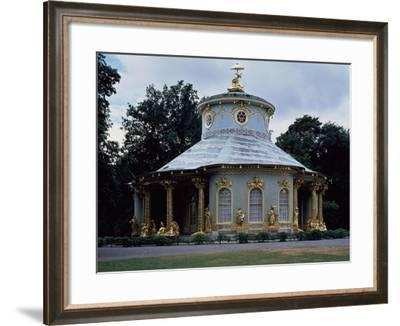 Chinese Teahouse, Circular Pavilion with Gilded 18th Century Statues--Framed Giclee Print