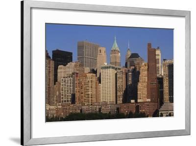 Lower Manhattan Seen from a Boat, New York, United States. Aerial View--Framed Giclee Print