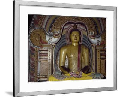 Painted Statue of Buddha Kept in Rock Temple Dating from 18th Century, Dambulla, Sri Lanka--Framed Giclee Print