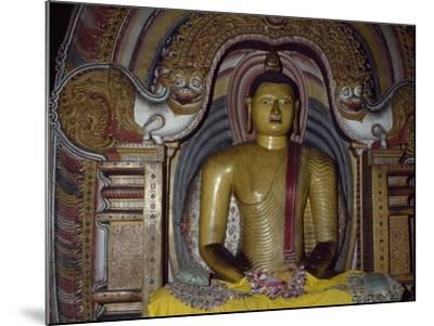 Painted Statue of Buddha Kept in Rock Temple Dating from 18th Century, Dambulla, Sri Lanka--Mounted Giclee Print