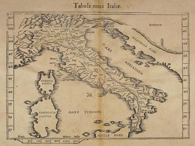Map of Italy from Relief Map by Claudius Ptolemy, Vienna-Lyon, 1541--Framed Giclee Print