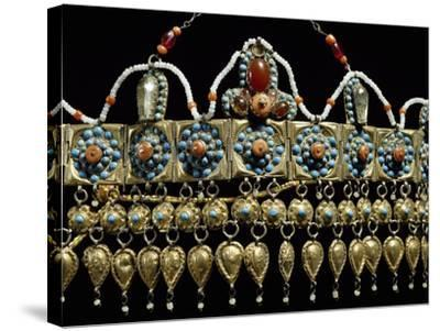 Crown of Silver-Gilt, Coral, Turquoise and Glass Paste from Samarkand, Uzbekistan--Stretched Canvas Print