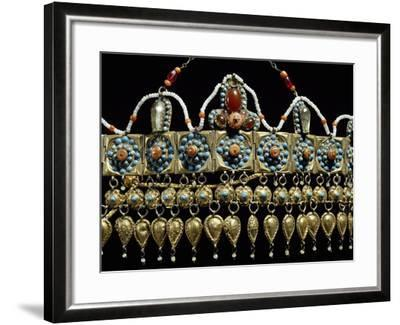 Crown of Silver-Gilt, Coral, Turquoise and Glass Paste from Samarkand, Uzbekistan--Framed Giclee Print