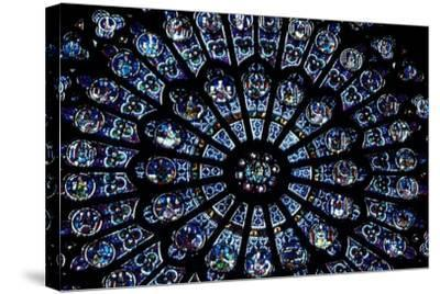 North Rose Window of Notre Dame Cathedral, Paris, Ile-De-France, France--Stretched Canvas Print