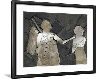 Warrior with Prisoner, Mother of Pearl Mosaic Panel, Syria, 3rd Millennium BC--Framed Giclee Print