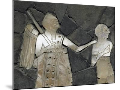 Warrior with Prisoner, Mother of Pearl Mosaic Panel, Syria, 3rd Millennium BC--Mounted Giclee Print
