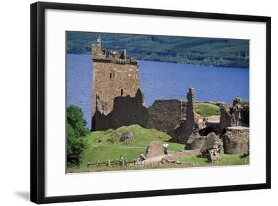 View of Urquhart Castle with Loch Ness in the Background--Framed Giclee Print