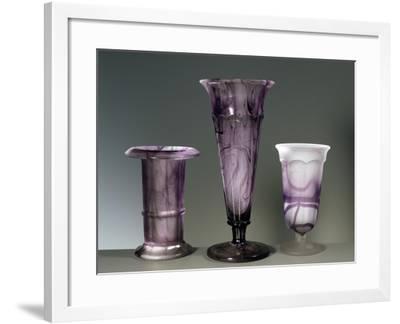 Amethyst Colored Glass Vases--Framed Giclee Print