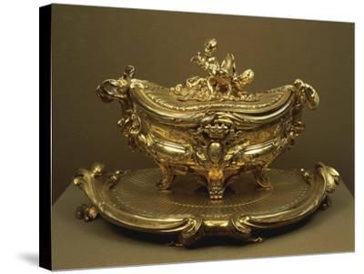 Gilded Silver Tureen and Tray--Stretched Canvas Print
