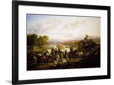Painters from Lyon Stopping at Barbe Island, 1824--Framed Giclee Print