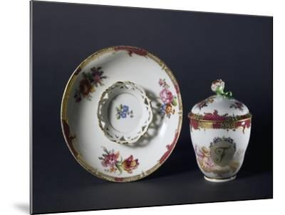 Cup, Saucer and Lid with Floral Decorations, 1840-1850--Mounted Giclee Print