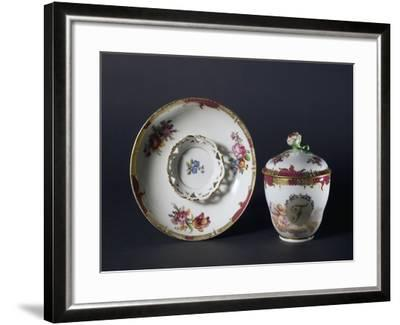 Cup, Saucer and Lid with Floral Decorations, 1840-1850--Framed Giclee Print