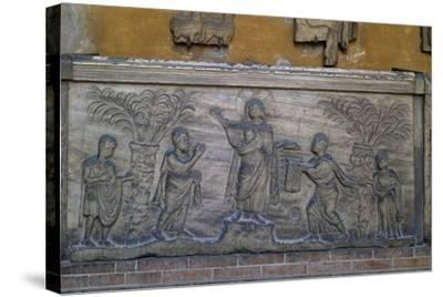 Roman Sarcophagus known as Traditio Legis from Ravenna, Italy, Early Christian Period, 5th Century--Stretched Canvas Print