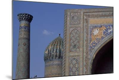 Detail of Tympanum of Tilla Kari Madrasa, Completed in 1660, Registan, Samarkand, Uzbekistan--Mounted Giclee Print