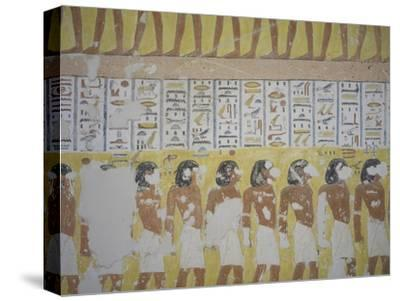 Egypt, Thebes, Luxor, Valley of the Kings, Mural Painting in Tomb of Ramses IV--Stretched Canvas Print