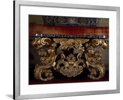 Baroque Style Carved and Gilt Wood Console Table, with Inlaid Marble Top, Italy--Framed Giclee Print