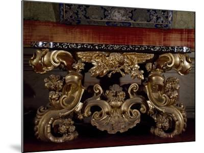 Baroque Style Carved and Gilt Wood Console Table, with Inlaid Marble Top, Italy--Mounted Giclee Print
