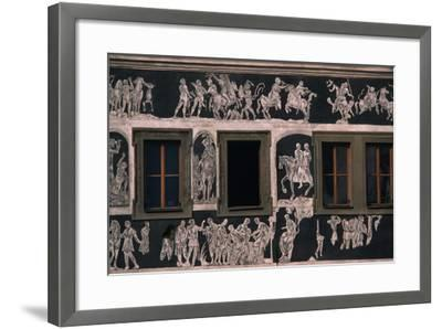 Biblical and Mythological Scenes, Sgraffito-Decorated Facade of Dom U Minuty, House at Minute--Framed Giclee Print