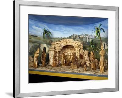 Nativity, Nativity Scene with Olive Wood Figurines, Palestine--Framed Giclee Print