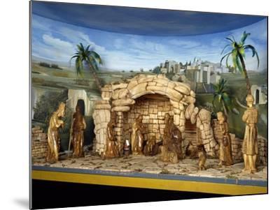 Nativity, Nativity Scene with Olive Wood Figurines, Palestine--Mounted Giclee Print