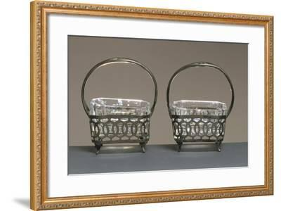 Pair of Crystal and Silver Salt Cellars--Framed Giclee Print