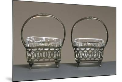 Pair of Crystal and Silver Salt Cellars--Mounted Giclee Print