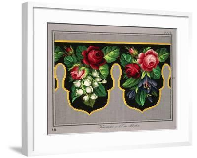 Pelmet Pattern with Roses, Lilies of the Valley and Crocus--Framed Giclee Print