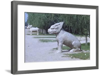 Stone Statues of Animals Along Sacred Way or Spirit Way Leading to Tombs of Ming Emperors Beijing--Framed Giclee Print