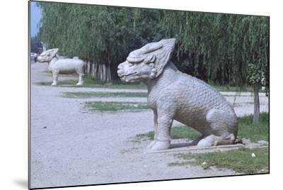 Stone Statues of Animals Along Sacred Way or Spirit Way Leading to Tombs of Ming Emperors Beijing--Mounted Giclee Print